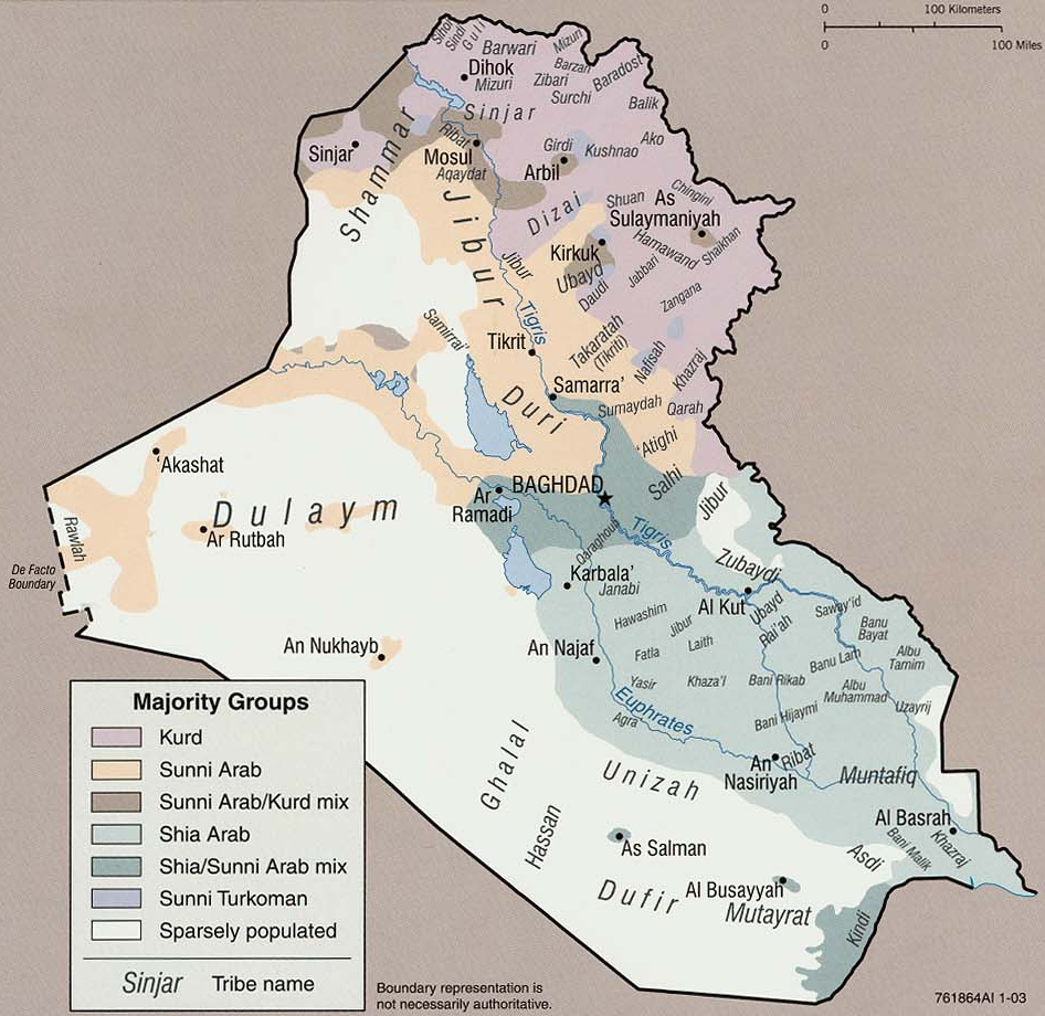 Ethnographic map of Iraq, 2003